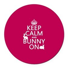 Keep Calm and Bunny On Round Car Magnet