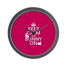 Keep Calm and Bunny On Wall Clock
