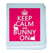 Keep Calm and Bunny On baby blanket