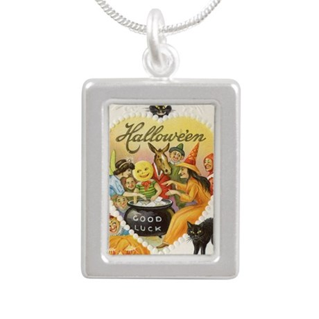 Halloween Greeting Card Silver Portrait Necklace