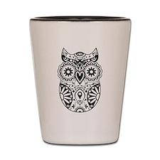 Sugar Skull Owl Shot Glass
