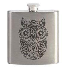 Sugar Skull Owl Flask