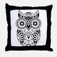 Sugar Skull Owl Throw Pillow