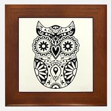 Sugar Skull Owl Framed Tile