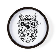 Sugar Skull Owl Wall Clock
