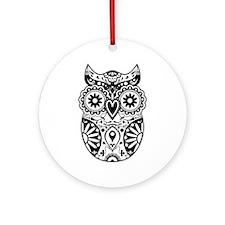 Sugar Skull Owl Ornament (Round)