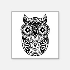 "Sugar Skull Owl Square Sticker 3"" x 3"""