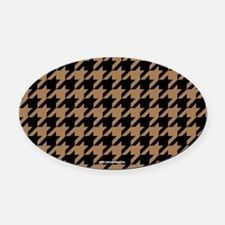 Houndstooth Khaki Oval Car Magnet