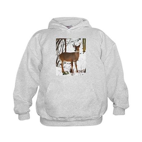 Whitetail Deer In Winter Kids Hoodie