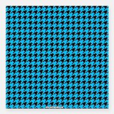 "Houndstooth Blue Square Car Magnet 3"" x 3"""