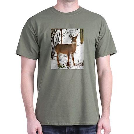 Whitetail Deer In Winter Dark T-Shirt