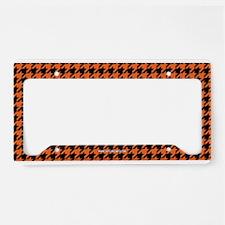 Houndstooth Orange License Plate Holder