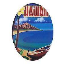 Vibrant Blue Vintage Hawaii Oval Ornament