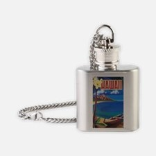 Vibrant Blue Vintage Hawaii Flask Necklace