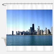 Chicago Skyline Across from Lake Michigan Shower C