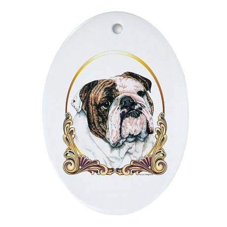Bulldog Christmas/Holiday Oval Ornament