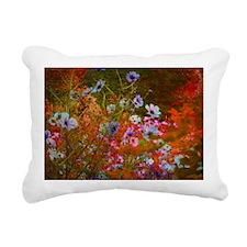 wildflowers red texture Rectangular Canvas Pillow