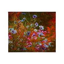 wildflowers red texture Throw Blanket