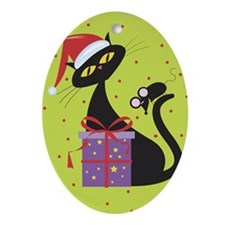Black Holiday Cat Oval Ornament