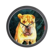 Chinese Sharpei Christmas Chunky Wall Clock