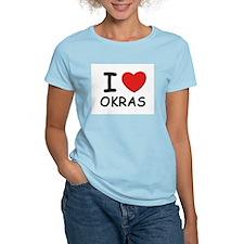 I love okras Women's Pink T-Shirt