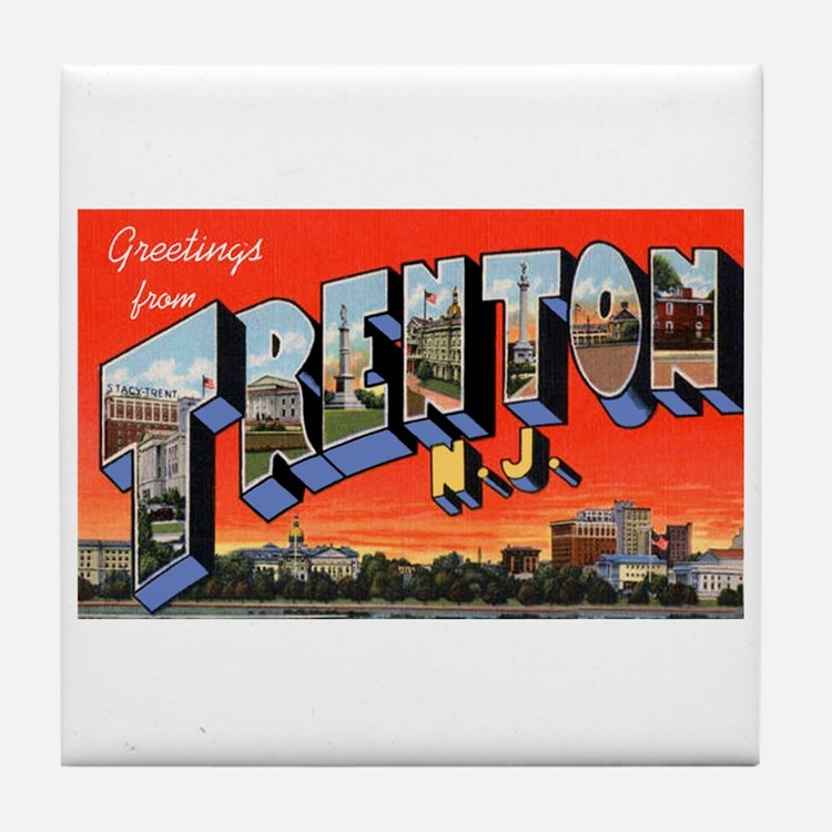 Trenton New Jersey Greetings Tile Coaster