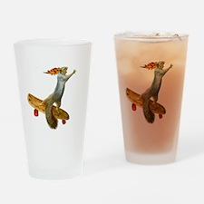 Skateboarding Squirrel Drinking Glass