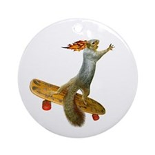 Skateboarding Squirrel Ornament (Round)