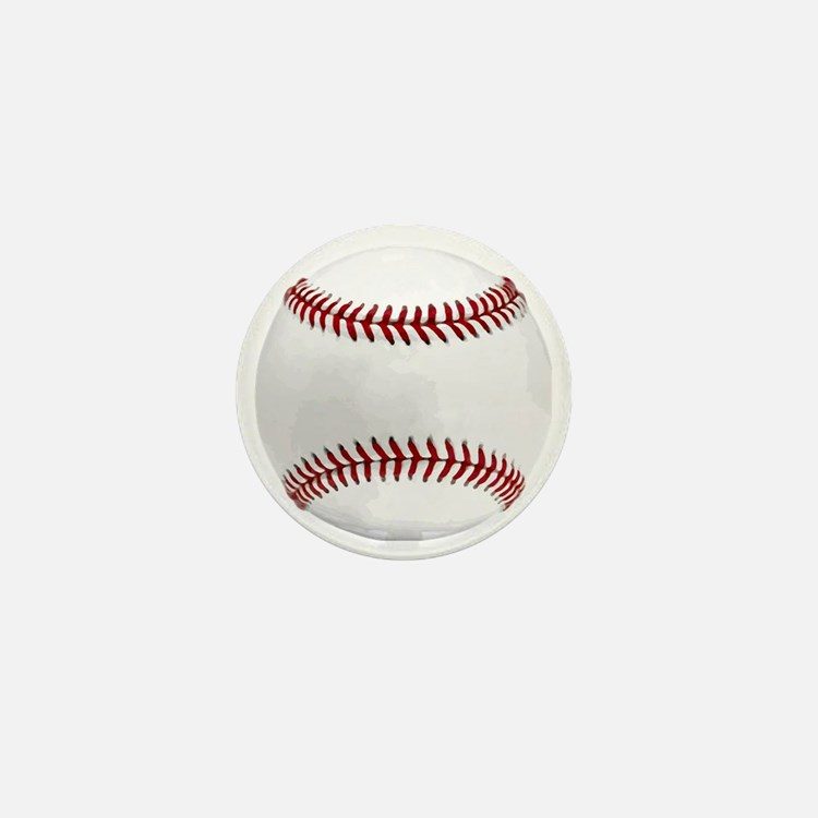 White Round Baseball Red Stitching Mini Button