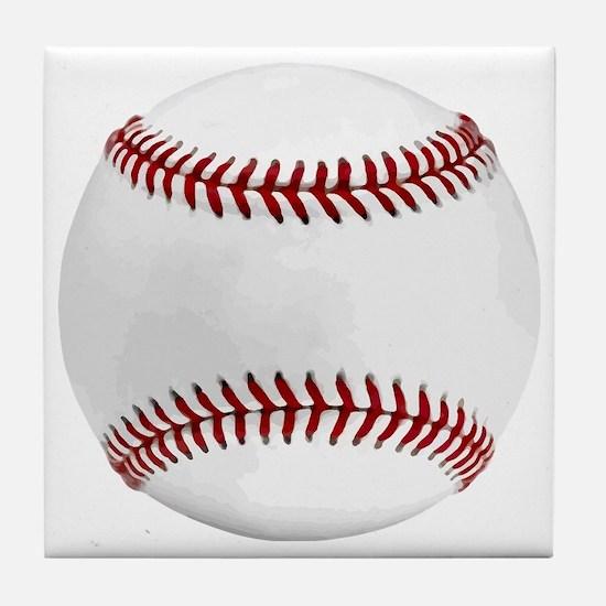 White Round Baseball Red Stitching Tile Coaster