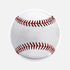 "White Round Baseball Red Stitching 3.5"" Button"