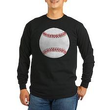 White Round Baseball Red  T