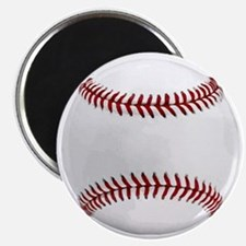 White Round Baseball Red Stitching Magnet