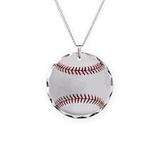 White Round Baseball Red Sti Necklace