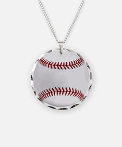 White Round Baseball Red Sti Necklace