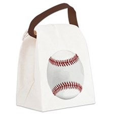 White Round Baseball Red Stitchin Canvas Lunch Bag