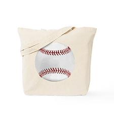 White Round Baseball Red Stitching Tote Bag