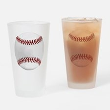 White Round Baseball Red Stitching Drinking Glass