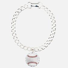White Round Baseball Red Bracelet