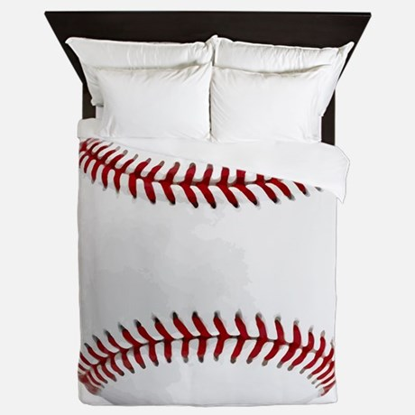 White Round Baseball Red Stitching Queen Duvet