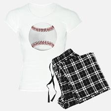 White Round Baseball Red St Pajamas
