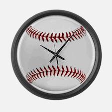 White Round Baseball Red Stitchin Large Wall Clock