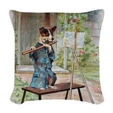 He Was Playing The Flute Woven Throw Pillow