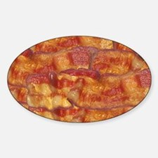 Fried Bacon Background Pattern Sticker (Oval)