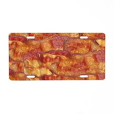 Fried Bacon Background Patt Aluminum License Plate