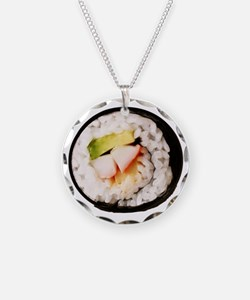 Funny Realistic Sushi Necklace Circle Charm