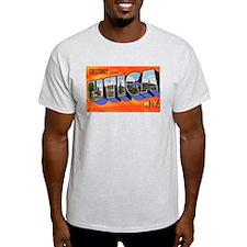 Utica New York Greetings (Front) Ash Grey T-Shirt