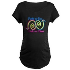 Peek A Boo Pink or Blue Maternity T-Shirt