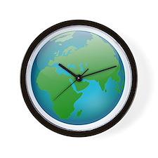 Circular Earth Globe Wall Clock