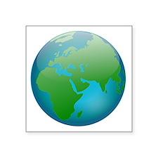 """Circular Earth Globe Square Sticker 3"""" x 3"""""""